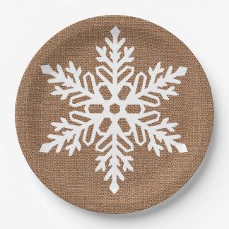 Assiettes En Papier Flocon de neige sur Noël de style campagnard de