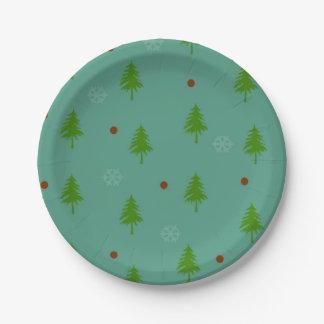 Assiettes En Papier Flocons de neige des arbres n