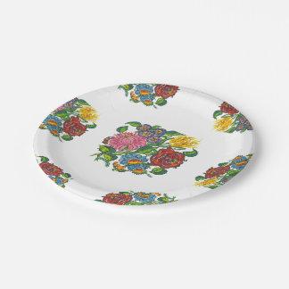 Assiettes En Papier Floral hongrois - motifs de kalocsai