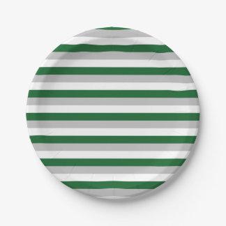 Assiettes En Papier Forest Green, argent et rayures blanches