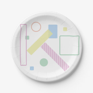 Assiettes En Papier Forme géométrique douce en pastel de partie