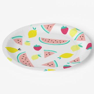 Assiettes En Papier fruits colorés heureux d'été