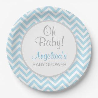 Assiettes En Papier Garçon moderne de baby shower de bébé de gris bleu