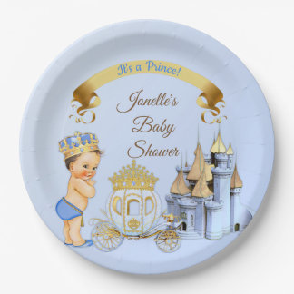 Assiettes En Papier Garçon royal de prince Castle Carriage Blue Gold