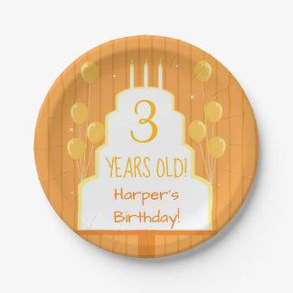 Assiettes En Papier Gâteau d'anniversaire orange et plaque à papier