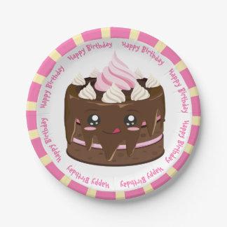 Assiettes En Papier Gâteau de kawaii de chocolat de joyeux