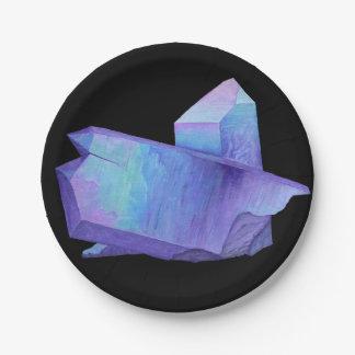 Assiettes En Papier Geode en cristal pourpre de quartz d'aura d'ange