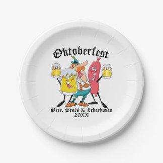 Assiettes En Papier Gosses et Lederhosen de bière d'Oktoberfest
