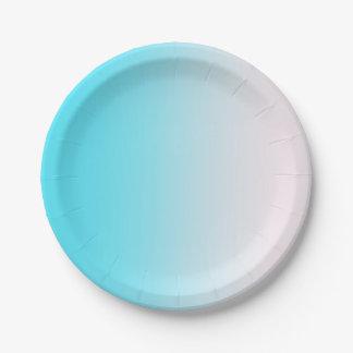 Assiettes En Papier Gradient bleu et blanc