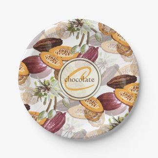 Assiettes En Papier Graines de cacao, fleurs de chocolat, les cadeaux