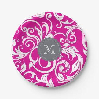 Assiettes En Papier Gris de rose de papier peint floral de partie de