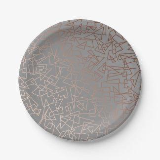 Assiettes En Papier Gris géométrique de motif d'or rose élégant