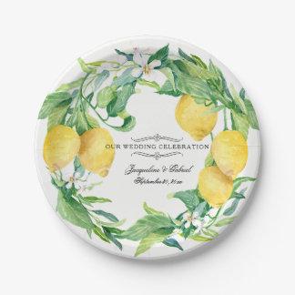 Assiettes En Papier Guirlande de feuille florale de citron d'agrume de