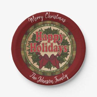 Assiettes En Papier Guirlande de Joyeux Noël de style campagnard