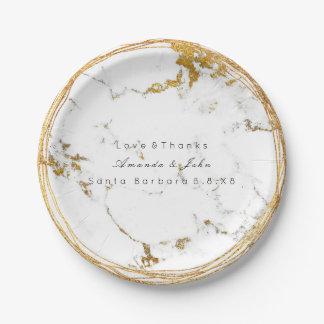 Assiettes En Papier Guirlande métallique d'or en pierre de marbre