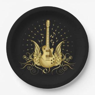 Assiettes En Papier Guitare à ailes d'or