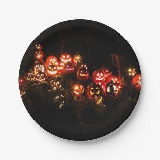 Assiettes En Papier Halloween Jack-o'-lantern recueillant la plaque à