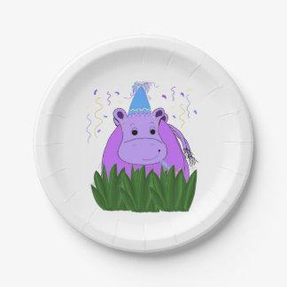 Assiettes En Papier Hippopotame dans l'herbe