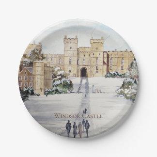 Assiettes En Papier Hiver à la peinture de paysage de château de
