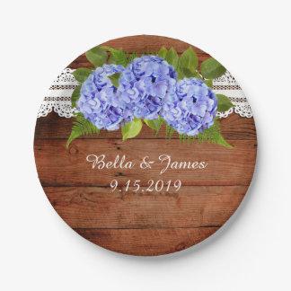 Assiettes En Papier Hortensia bleu de dentelle rustique épousant la