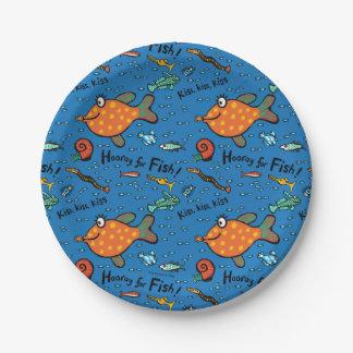 Assiettes En Papier Hourra pour le motif de poissons