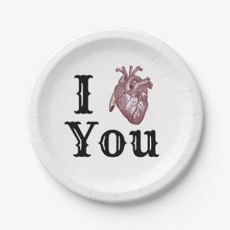 Assiettes En Papier I coeur vous