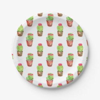 Assiettes En Papier Illustration de motif de cactus d'aquarelle