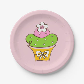 Assiettes En Papier Illustration de petit gâteau