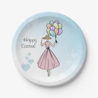 Assiettes En Papier Illustration heureuse de cru de ballon de Pâques