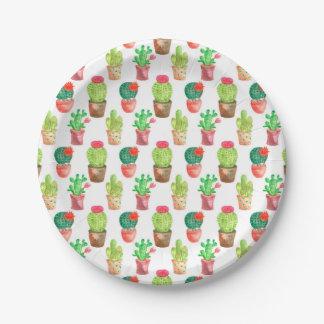 Assiettes En Papier Illustration tirée par la main de motif de cactus