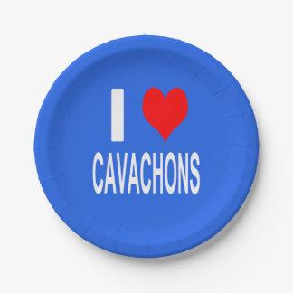 Assiettes En Papier J'aime le plat de Cavachons, chien
