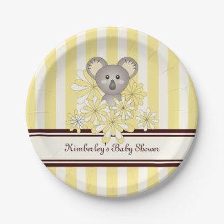 Assiettes En Papier Jaune neutre animal mignon d'anniversaire du baby