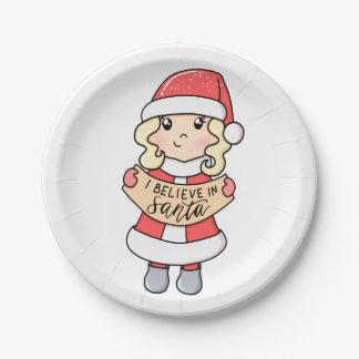 Assiettes En Papier Je crois au Père Noël