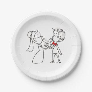Assiettes En Papier Jeunes mariés noirs et blancs de mariage
