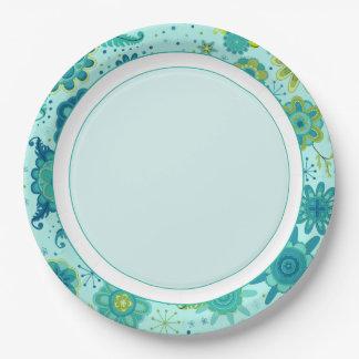 Assiettes En Papier Jolies fleurs turquoises