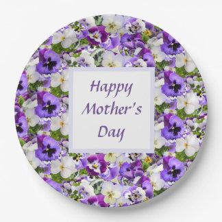 Assiettes En Papier Jour de mères heureux floral pourpre