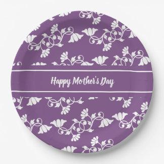Assiettes En Papier Jour de mères heureux floral pourpre et blanc