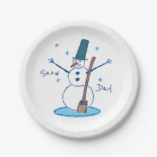 Assiettes En Papier Jour de neige de bonhomme de neige