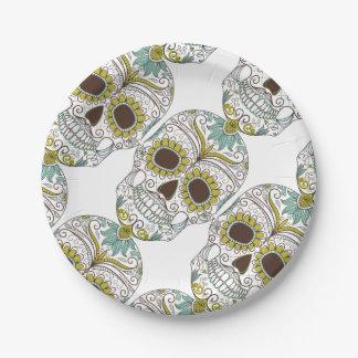 Assiettes En Papier Jour du crâne floral mort