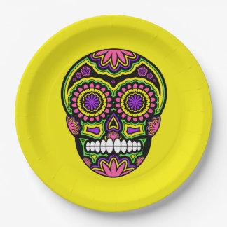 Assiettes En Papier Jour mexicain coloré de crâne de sucre des morts