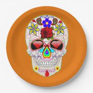Assiettes En Papier Jour mexicain d'art de motif de crâne de sucre des