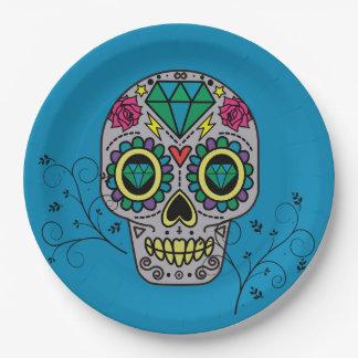 Assiettes En Papier Jour mexicain de motif de crâne de sucre d'artiste