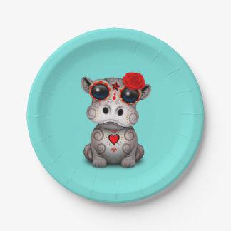 Assiettes En Papier Jour rouge de l'hippopotame mort de bébé