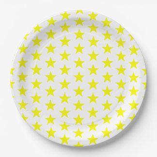 Assiettes En Papier Joyeuses et lumineuses étoiles jaunes les vacances