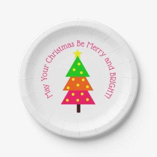 Assiettes En Papier Joyeuses et lumineuses vacances d'arbre de Noël