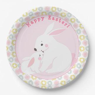 Assiettes En Papier Joyeuses Pâques ! Plaques à papier de lapins roses