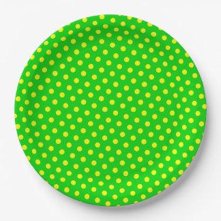 Assiettes En Papier Joyeux et lumineux pois jaune sur le vert