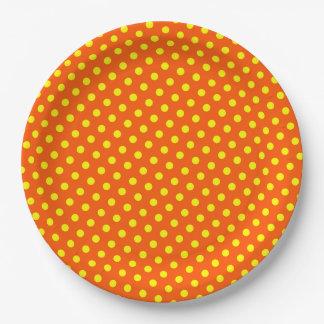 Assiettes En Papier Joyeux et lumineux pois jaune sur l'orange