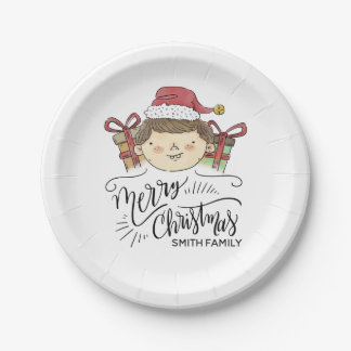 Assiettes En Papier Joyeux Noël. Aquarelle Père Noël tiré par la main