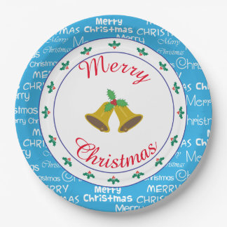 Assiettes En Papier Joyeux Noël Bells et houx